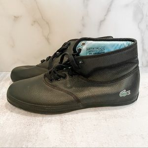 LACOSTE - NWOT BLACK LEATHER HIGH TOP SNEAKERS
